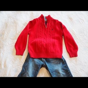 Nautica Red Sweater with Jeans